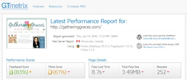 report AFTER wp-optimize for site load faster