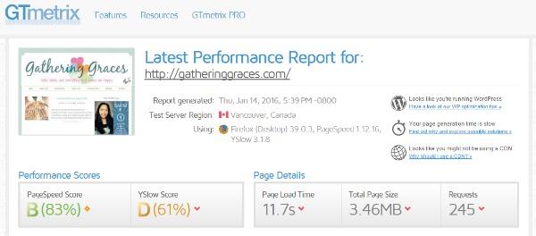 BEFORE site load faster screenshot