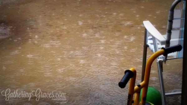 rain up close puddle