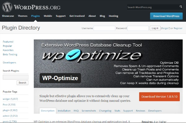 wp-optimize for site load faster